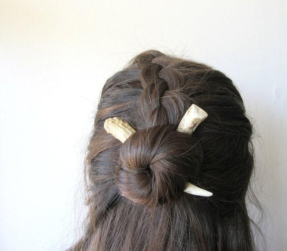 Horn Deer Antler Hair Sticks Small Carved White Bone Tribal Chic Long Hair Toys