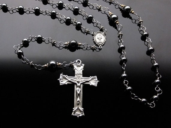 Boys First Communion Rosary  Wire Wrapped (Unbreakable): Black Hematite