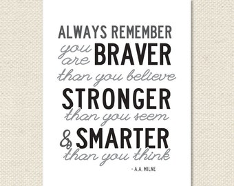 Always Remember You Are Braver Than You Believe Winnie The Pooh 8.5x11 Print - Black and Grey