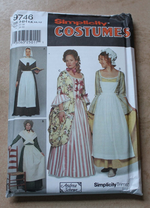 Simplicity Costumes Pattern 9746 - Misses Size HH (6, 8, 10, 12) Pilgrim & 18th and 19th Century Costumes