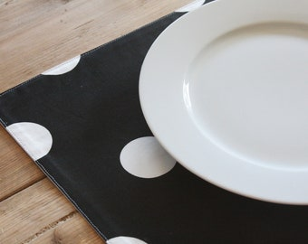 Set of 4 Placemats - Black with White Polka Dots