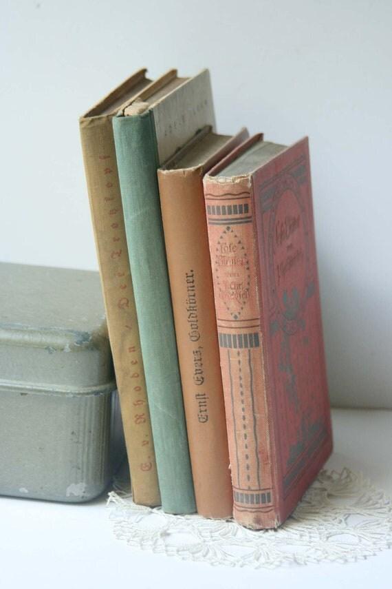 German Home Decor Vintage Books - Earth Tones - Foreign Language Books - Set of 4