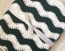 Baby blanket crochet pine green and white ripple chevron blanket