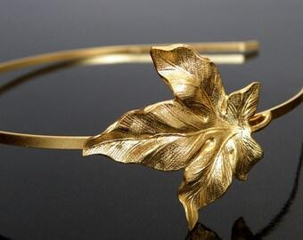 Gold headband, fig leaf headband, bridal headband, Leaf headband. Autumn headband, golden headband, bridal headband, Gold Plated Clover Leaf