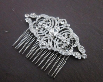 Bridal hairpiece, bridal hair comb, crystal bridal side comb, Art Deco Crystal Bridal Hair Comb