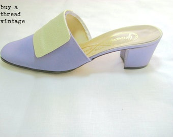 Vintage 60s Italian Mod Lilac and Gold Italian Boudoir Mules