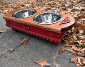 Elevated Small Dog Pet Feeder, Two Tone, Walnut Stained Top, Cardinal Red Shabby Chic Two Paw Print Stainless One Quart Bowls Made To Order