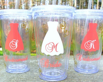 3 Bridesmaids Tumblers, 16 ounce insulated tumblers with lid and straw, acrylic Bridesmaid or Maid of honor gift, bride cup, coral and gold