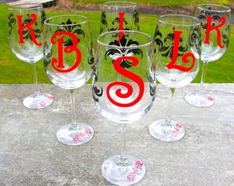 1 Wedding Damask wine glasses, bridesmaid gifts or favors, Christmas wine glasses, holiday gift idea glass.