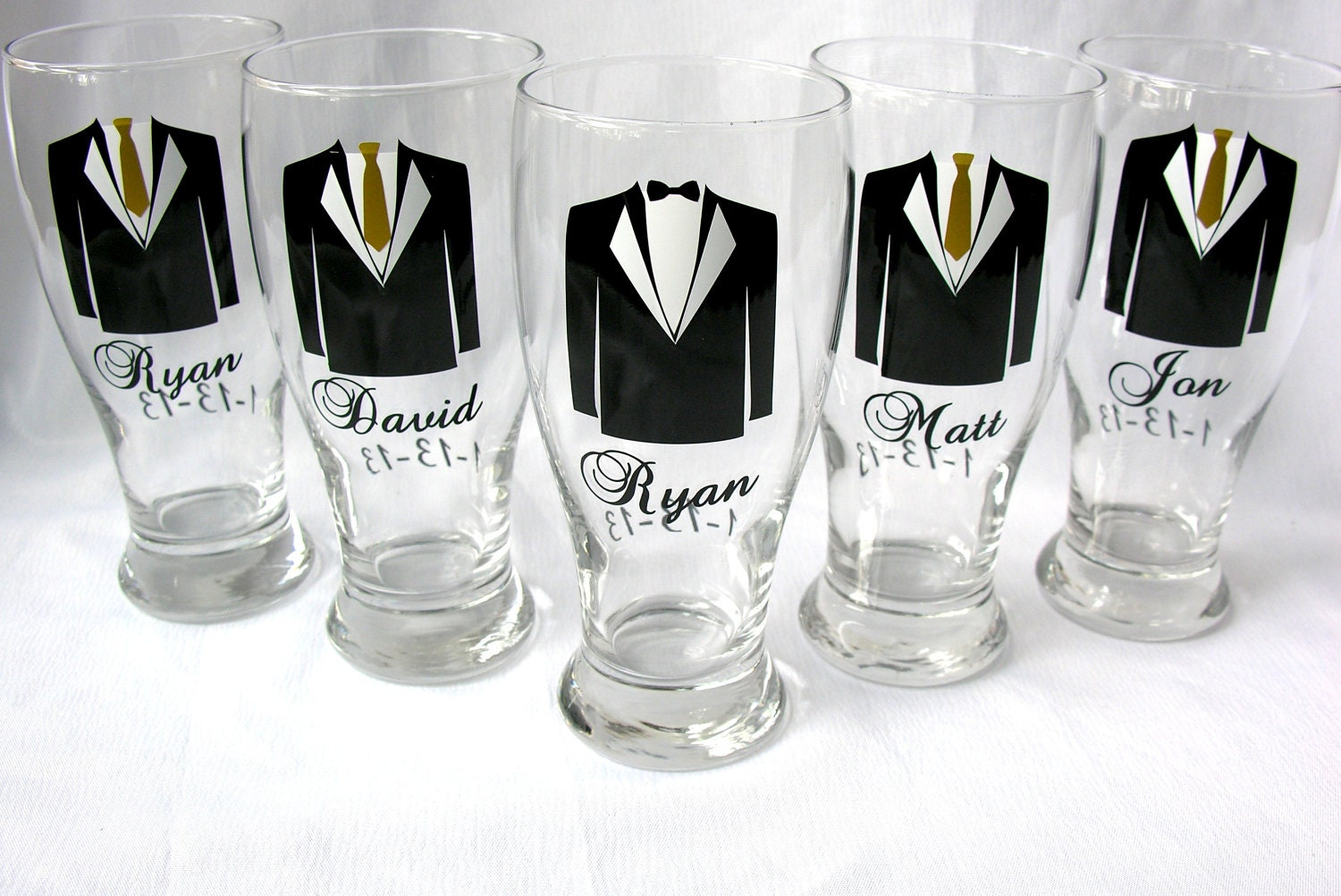 Groomsmen Tux Pilsner Glasses With For Wedding Party Gifts