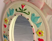 RESERVED for Sheila Bow mirror birds hearts flowers Earl Bernard vintage 1950s 1960s made in Japan