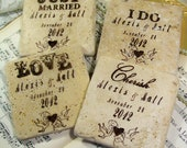 Wedding Coasters Set of 4 Love Cherish Personalized Set of 4 Bride and Groom