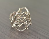 Filigree Ring, wide silver scroll band - Garland Ring