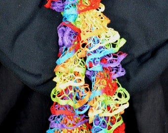 Spiral ruffle scarf, dress scarf, multi-colored scarf, women's scarf, trendy