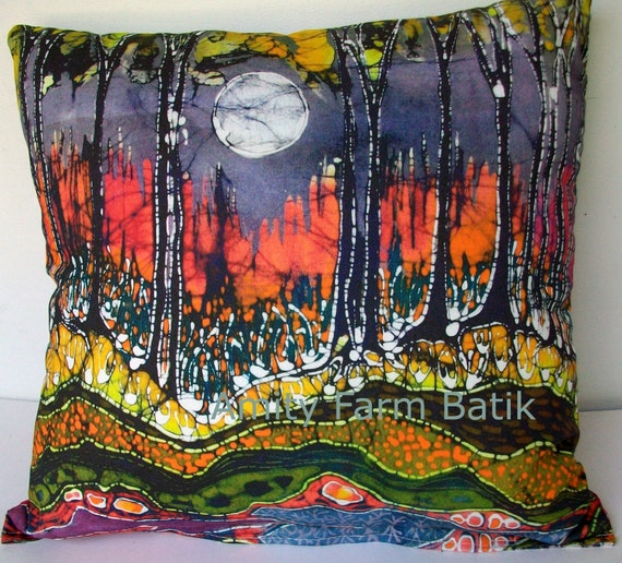 "Moon Over Spring - batik fabric for pillow (17"" x 34"") from original - Custom printed fabric-Applique quilt panel"