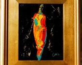 Kitchen Decor, Still Life ,Palette Knife Art , Pepper,Southwestern,Vegetable ,Modern Kitchen Art by Catherine Claire McElveen