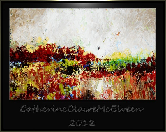 Large Abstract Painting Original Art on Canvas Modern Wall Decor 48 x 24 CatherineClaireMcElveen