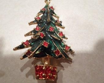 Vintage Red Rhinestone Christmas Tree Pin