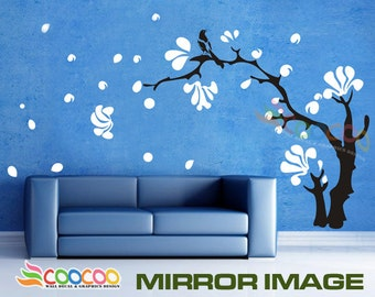 """Wall Decal, wall Stickers,Tree Wall Decals ,Wall decals, Nursery wall decal,Childrenwall decals, Removable,  Magnolia Tree & Magpie Bird 60"""""""