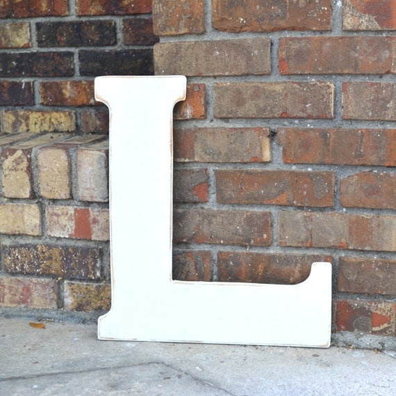 """18"""" Wooden Letter L, Classic Font in Distressed White - all letters available in many colors"""