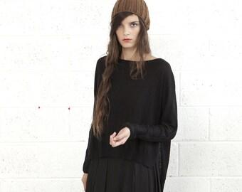 Black sweater,kimono cut sweater,womans sweater