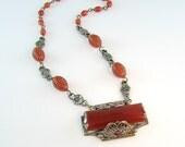 Art Deco Necklace Czech Carnelian Glass Silver Flowers Filigree Frame 1930s Jewelry
