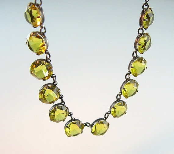 Art Deco Citrine Crystal Necklace Canary Yellow Open Back Sterling Fine Chain 1940s Jewelry