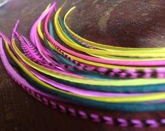 Feather Extensions Long Hot Grizzly Pink, Teal Green, Yellow Hair Feathers For Feather Hair Extension / One Bonded 4 Feather Bundle
