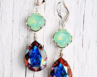Pacific Green Opal Aurora Borealis Vintage Swarovski Earrings Nautical Earrings Rhinestone Earrings Gwenevere Jewelry by Mashugana