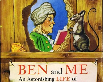 Antique Vintage Ben and Me Children's Book 1939 by Robert Lawson Benjamin Franklin and his mouse Amos American Illustrator