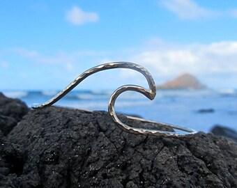 Wave Bangle, Silver Hammered Bracelet, Surfer Girl Gift Idea, Hawaiian Jewelry, Hawaii Beach Fashion, Wave Ring, Mermaid Accessory, Handmade