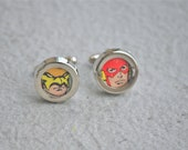 RESERVED Hawkman and the Flash Cuff Links JLA justice league of america cufflinks upcycled recycled dc vintage comic book superheroes comics