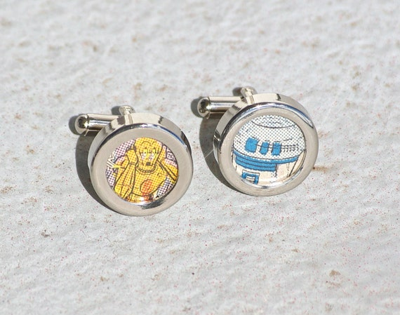 R2-D2 and C3PO cuff links Star Wars cufflinks gifts for geeks handmade recycled upcycled repurposed vintage comic book