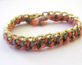 SMALL Woven Chain Bracelet Pink and Grey