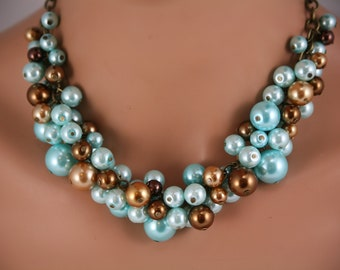 brown and turquoise chunky pearl necklace