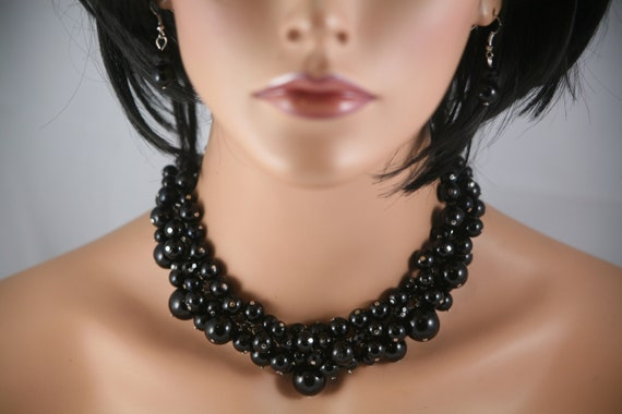 Black chunky pearl necklace weddings bridesmaids with crystals - chunky beaded, bridesmaids necklace