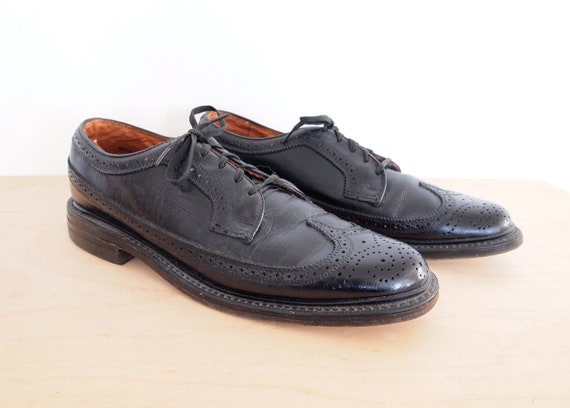 Black Leather Wingtips Jc Penney Classics By Beachwolfvintage