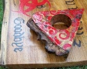 Ouija Board Red Triquetra Pagan Wiccan Paranormal Wooden Planchette Walnut Slab