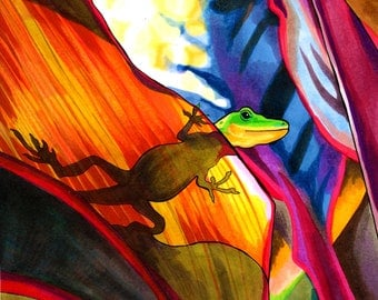 Languid Lizard (Colorful Rainbow Rainforest Copic Marker and Ink Psychedelic Reptile and Leaf Drawing)