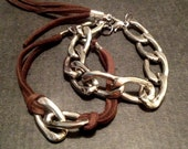 Chain Link Leather Bracelet