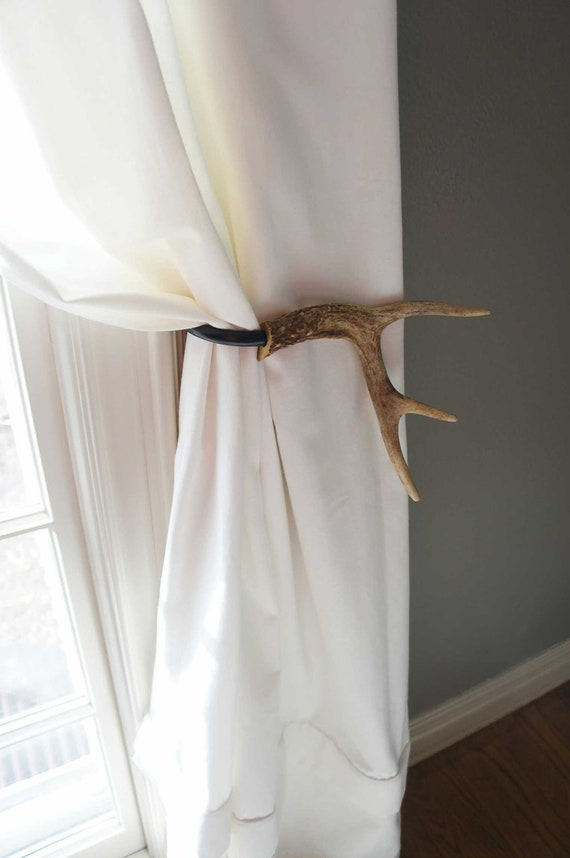 Curtain Tieback Deer Antler Tie Back Holdback Cabin Decor Primitive ...