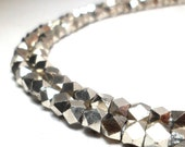 Silver Spacers - Faceted Metal Beads 4.5mm (60)