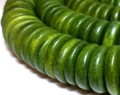 Green Wooden Beads Heishi Disc Beads 15mm 20 pieces