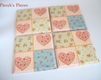 A set of four decoupaged coasters - Delicate flowery pattern