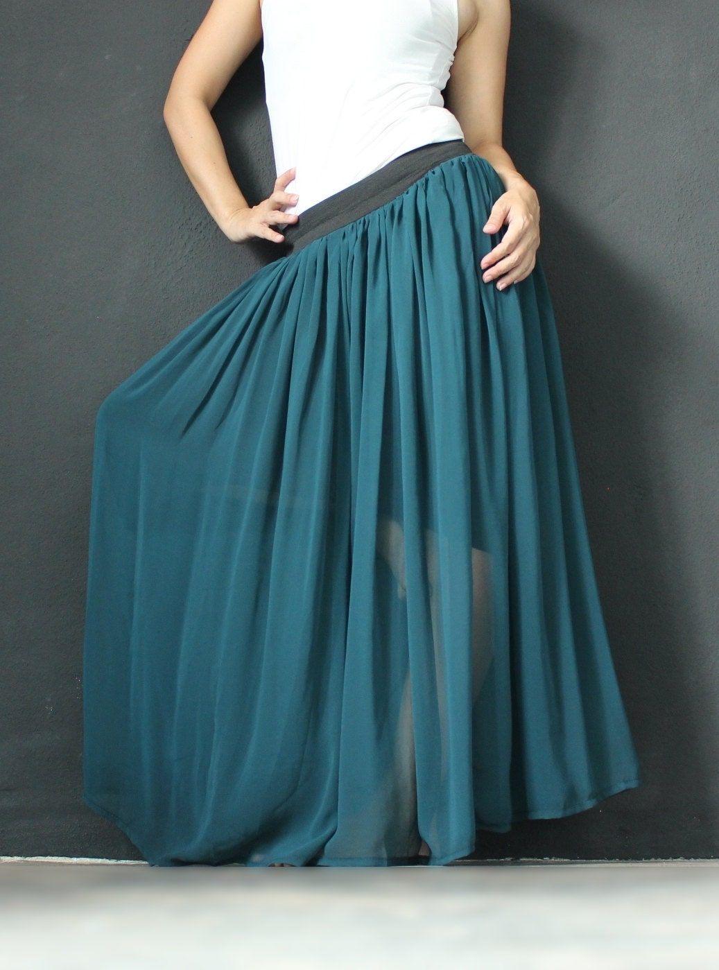 New Circle Long Skirt Women Chiffon Maxi Skirt Wide Flowing