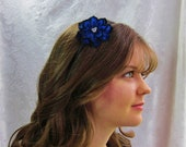 Clearance Sale Cobalt Sapphire Royal Blue Headband Hair Accessory Swarovski Crystals Pearls Bridesmaid Flower Girl