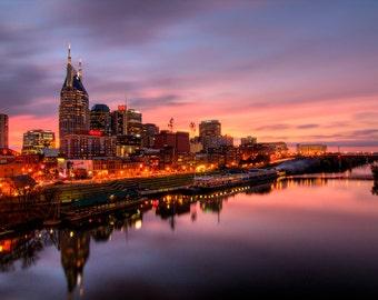 Nashville Tennessee Skyline fine art print, Beautiful sunset