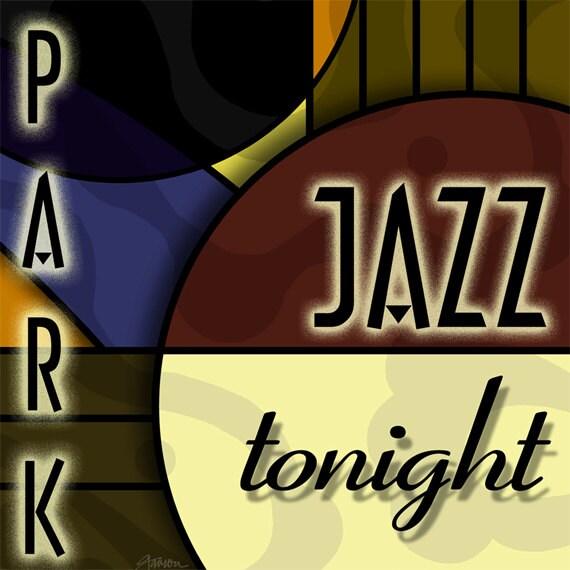 1920s 1930s jazz print art deco modern retro by gothamparkstudios - Club deco ...