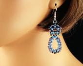 Purple and Blue Infinity Beaded Beadwoven Earrings