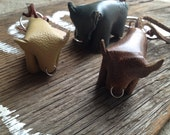 Leather bull key chain